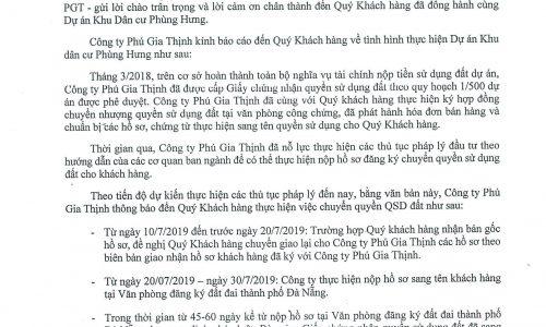 Thông báo về việc chuyển quyền QSD đất Khu dân cư Phùng Hưng